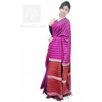 Magenta and Brown Pure Cotton Handloom Khesh Saree