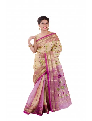 Silk Jamdani With Purple Border
