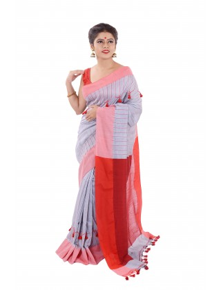 Handloom Saree With Body Pompom