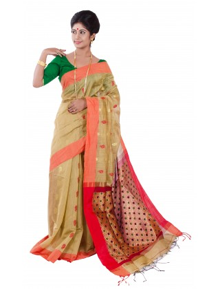 Silk Jamdani Golden With Red Border